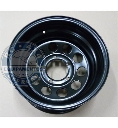 Roda 15x8 de aço 5 furos Preta 139.7 (furação Suzuki e Jeep Willys)