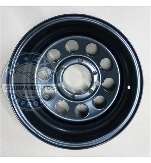 Roda 15x8 de aço 6 furos Preta 139.7 (furação Troller)