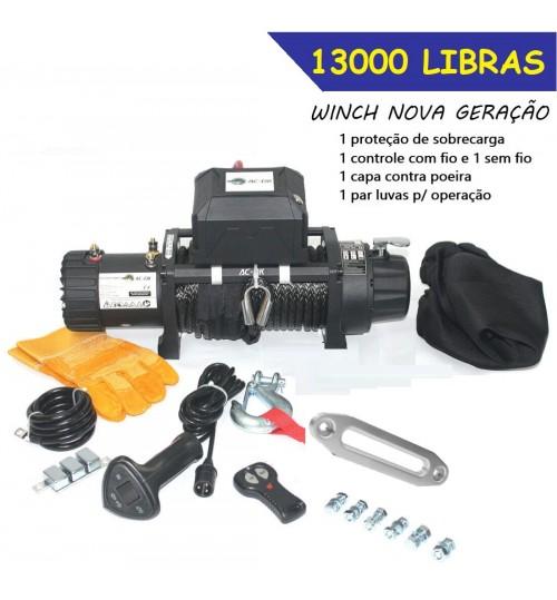 TJS-13000: GUINCHO 13000LBS / 5896kg COM CABO SINTÉTICO