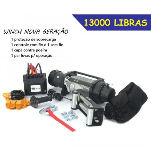 TJ-12000 GUINCHO 12000 LBS / 5443KG COM CABO DE AÇO