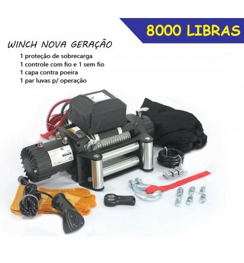 TJ-8000: GUINCHO 8000LBS / 3636kg COM CABO DE AÇO