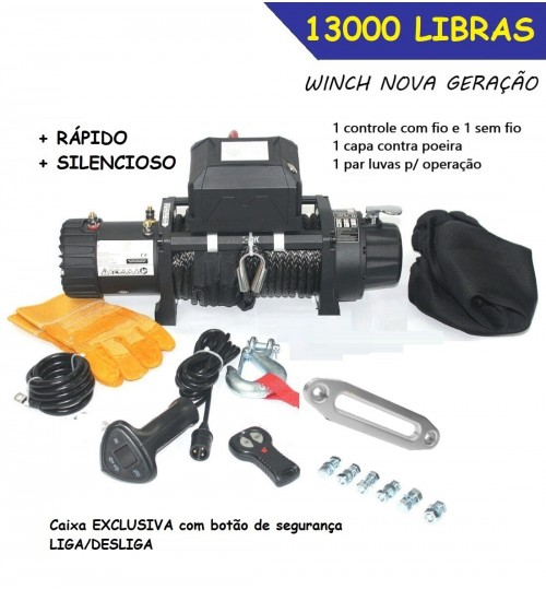 TJS-12000 GUINCHO 12000 libras COM CABO SINTÉTICO